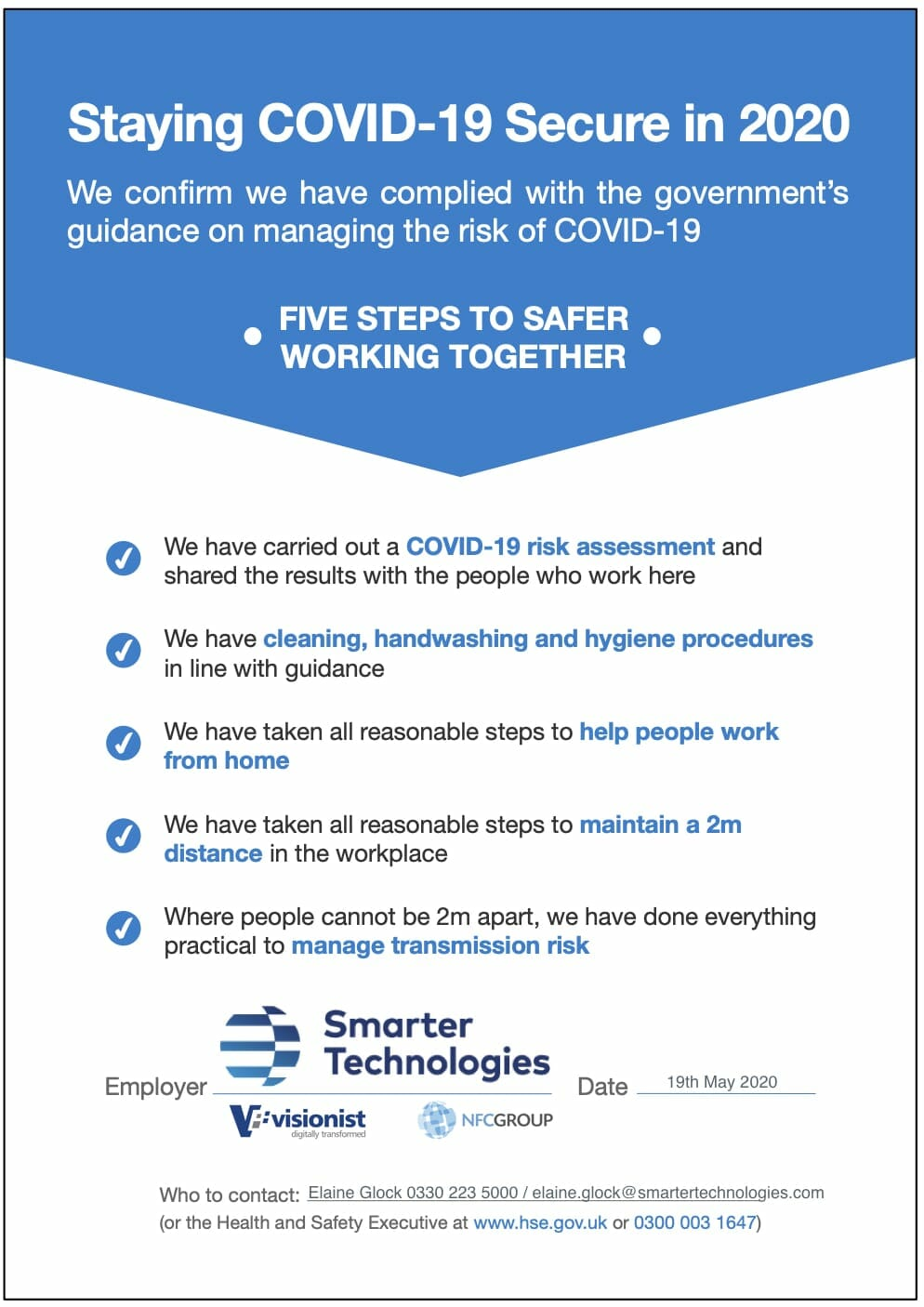 COVID declaration banner - Smarter Technologies